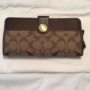 Coach brown signature large wallet